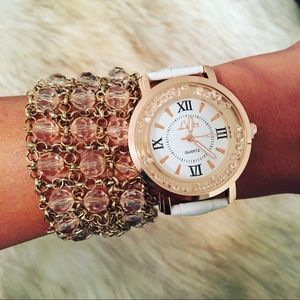 NEW! White & Rose Gold Watch